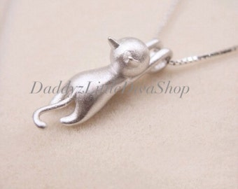 Sterling Silver 925 Kitty Cat Charm Pendant Necklace. Cat Necklace. Silver Cat Charm