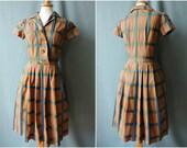 Herbstliches HemdblusenKleid 50er Jahre Braun-Blau Kariert Baumwolle   Size S   1950s Landgirl Shirtwaist Dress Plaid Cotton   Rockabilly