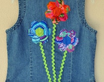 Flower Embellished denim vest or sleeveless blouse, Hexagon flowers on back and front, lace trim, unique, upcycled lightweight denim
