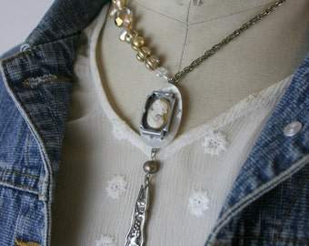 Vintage Assemblage Mother of Pearl Shell Cameo Watchpart Freshwater Pearl Statement Necklace