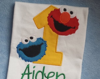 Elmo and Cookie Sesame Street Birthday Shirt