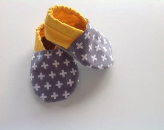 Grey Swiss Cross Baby Shoes
