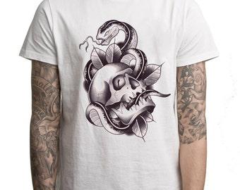 Skull & Snake Tattoo Men's T Shirt