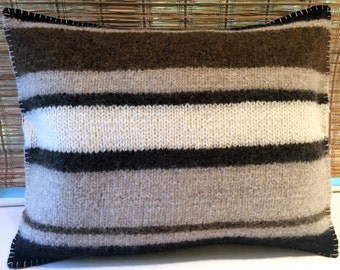 Hand-made, Felted Wool, Decorative Throw Pillow