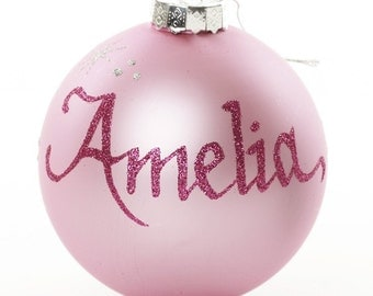 Personalised Baby Pink Glass Christmas Bauble - Large