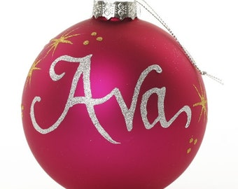 Personalised Hot Pink Glass Christmas Bauble - Medium
