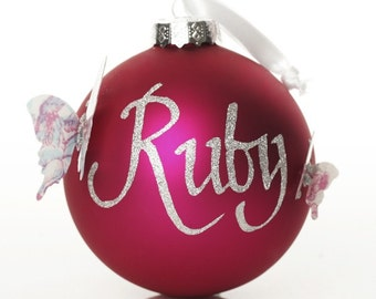 Personalised Hot Pink Butterfly Artisan Bauble