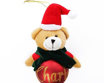Red Teddy Character Plush Bauble