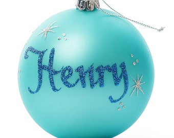 Personalised Sky Blue Glass Christmas Bauble - Large