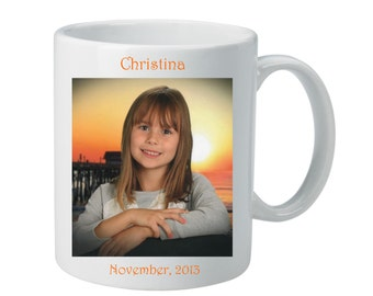 Personalized Picture Mug - Customize this Porcelain Mug with your Child's name and Photo - Special Gift for any Occasion
