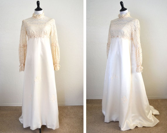 1960s empire waist wedding dress regency style by for Regency style wedding dress