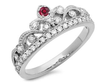 14K Gold Princess Crown Ruby and Diamond Ring 0.40ct