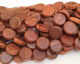 28 Coin Wood Beads, Bayong Wood Beads, Natural Wood Beads,15mm