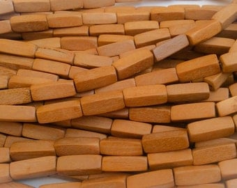 Natural wood beads, Nangka wood beads 5x17 tube