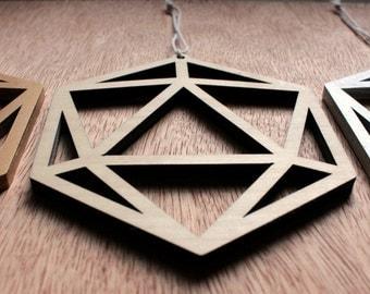 Laser Cut Wood Icosahedron D20 Ornament
