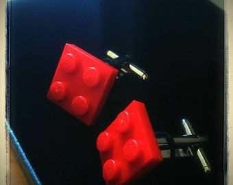 Red Lego cufflinks gift boxed orange, green, white, red colours
