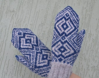 Blue Grey knitted mittens Hand knit mittens
