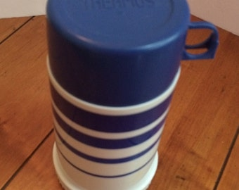 Vintage Royal Blue Striped Thermos