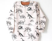 Dinosaur on Cream Organic Cotton Baby Sweatshirt