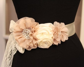 Flower Sash/Cream and Taupe Bridal Sash/Rustic Wedding Sash/Floral Maternity Sash/Flower Sash/Bridal Dress Sash/Handmade Flower Sash