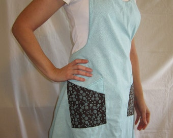 Chocolate Mint Adult Reversible Apron with Double Pockets, Kitchen Accessories