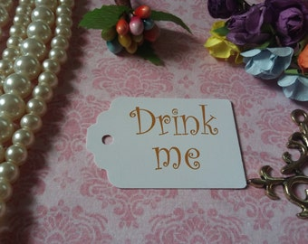 Drink Me Tags - Alice in Wonderland Drink Me Tags - Tea Party or Wedding Tags - Set of 25 to 300 pieces Mini tag