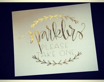 Gold foil Wedding sparkler sign. Wedding signs. sparkler send off sign
