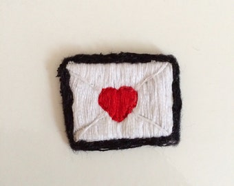 love letter hand embroidered patch