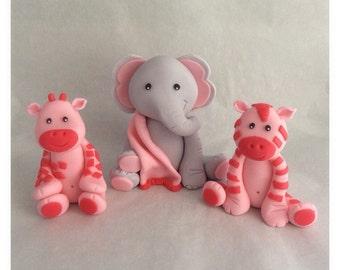 3 Jungle Animal Fondant Toppers