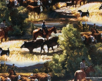 COWBOY Fabric Horse Fabric By the Yard Fat Quarter Western Cattle Drive Horse Steer Cows Scenic 100% Cotton Quilting Apparel Fabric t4/28
