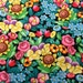 COLORFUL BRIGHT Floral Fabric By Yard, Half, FQ Mary Engelbreit Packed Orange Pink Blue Flowers Cotton Quilting Apparel Fabric t2/30