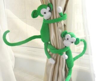 Monkey curtain tie back,Nursery curtains,2 PCS,Monkey curtain tie back,Shabby chic curtains,Nursery curtain tie back,Monkey curtains