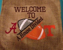 House Divided Football Garden Flag - ANY TEAMS - Your Choice - NFL, College, Local, we will do any 2 teams you want!