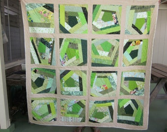 Shades of Green Crazy Quilt