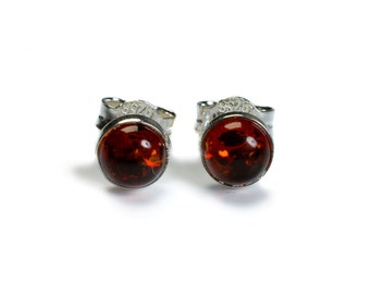 Henryka Cognac Amber & Silver Small Round Stud Earrings
