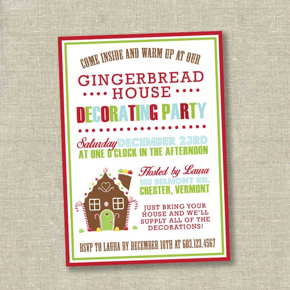 Christmas party invitation gingerbread decorating party Gingerbread house decorating party invitations