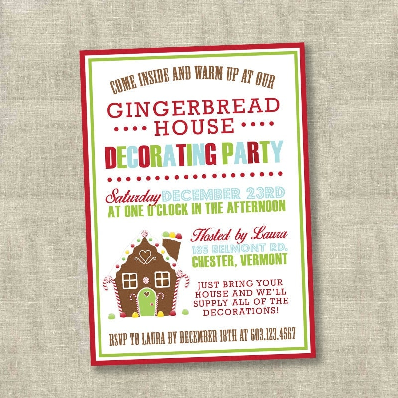 christmas party invitation Gingerbread decorating party