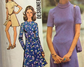 Simplicity 9758 vintage 1970's misses A-line dress and short shorts sewing pattern size 16 bust 38 waist 29