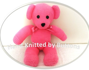 Hand Knitted Teddy bear, Pink teddy bear, CE tested teddy, Soft material toy, Newborn gift,Christening teddy,Hand knitted teddy, Teddy Bear