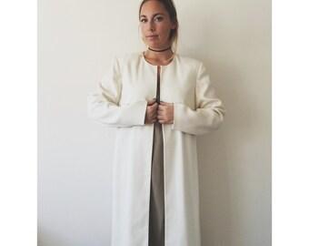 vtg 80's Jacqueline Ferrar MINIMALIST off white CAPE Jacket
