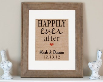Personalized Happily Ever After Sign, Valentine's Day Gift, Print, Burlap Home Decor, Wedding Gift, Couples Gifts, Names and established
