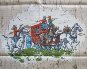 Four Old West Curtain Panels Featuring Cowboys, Gunfights and Cattle Russling