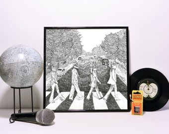 The Beatles Print, Animal Abbey Road Album Cover, Wall Art, Record Sleeve, Illustrated by Hutch Cassidy