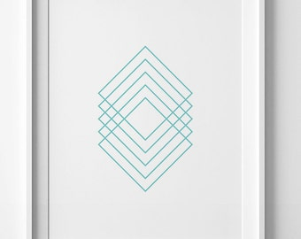 Digital art, printable art, geometric poster, mid century modern, turquoise print, Scandinavian print, modern decor turquoise wall art print