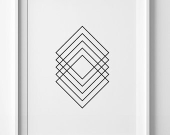 Black and white art, printable art, geometric print, Scandinavian print, wall art print, geometric wall art, mid century print, digital art