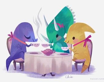 Dino Tea Party - Art Print