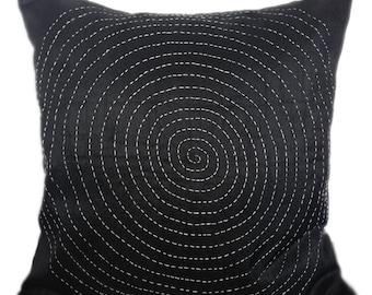 Kantha decorative pillow, black kantha pillow, kantha cushion, jaipur kantha pillow, kantha sofa toss, kantha accent pillow,16x16 kantha
