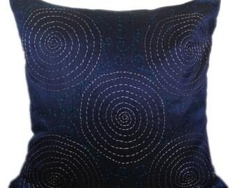 Kantha decorative pillow, dark blue kantha pillow, kantha cushion, jaipur kantha pilow, kantha sofa toss, kantha accent pillow,16x16 kantha