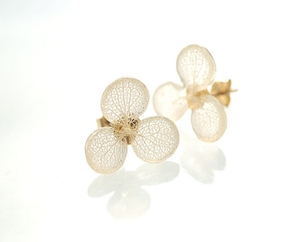 Real Hydrangea Earrings, Tiny 3-Petals with Beautiful White Veins, Post/Stud/Dongle/Hook/Drop Earrings 14k Gold Filled