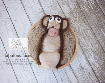 Newborn Monkey hat, Newborn photography prop, newborn boy, newborn girl,crochet hat